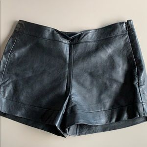 French connection black leather shorts